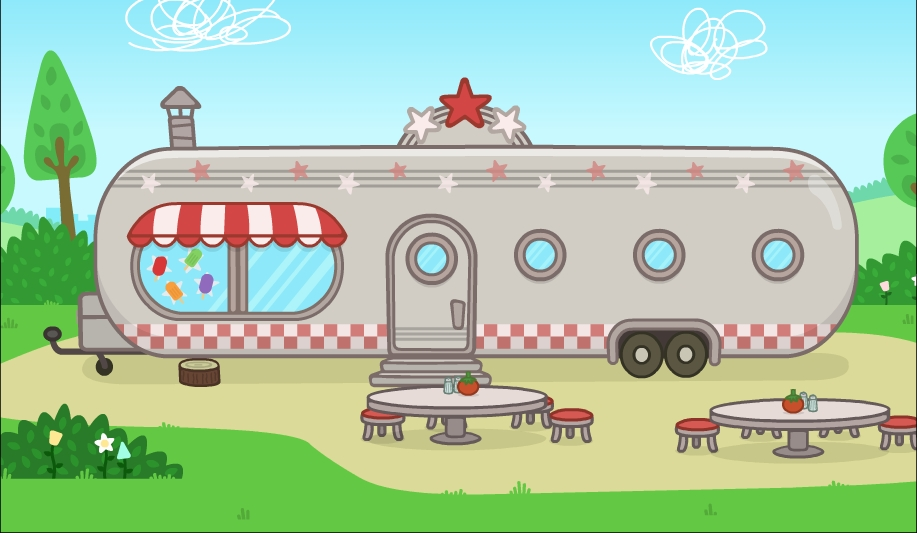 Ruby's Diner. Based on the classic 'Air Stream' design.