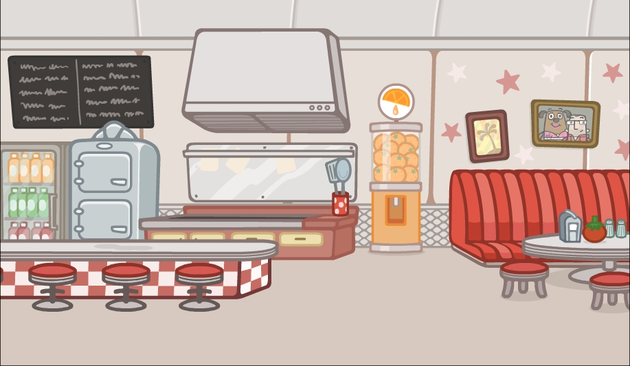 The interior of Ruby Woof's Diner. I loved designing this. Note my special appearance on the wall with Ruby herself.