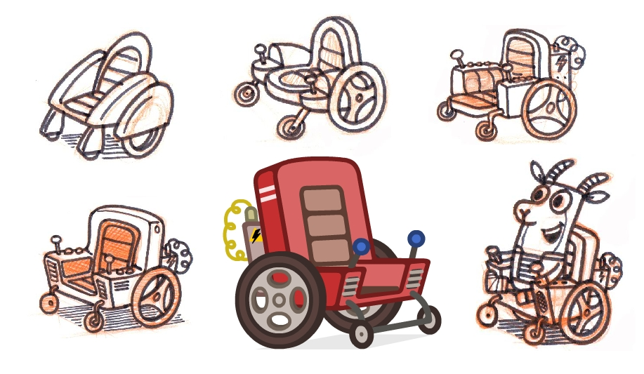 More Bleat gadgets. This is Gavin's wheelchair from 'Non-Stop Pops'. Most sketches go through half a dozen or so designs before being finalised in Flash.