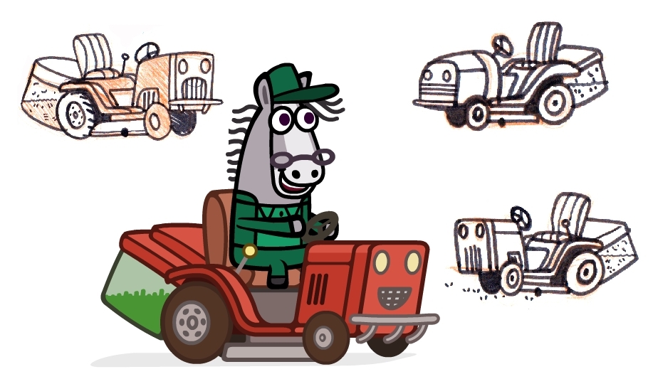 Mr. Cloppity keeps Giggly Park groomed on his ride-on lawn mower