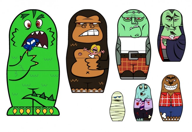 Client: Personal Project     Project: Hand painted Matrioshoka (Movie Monsters)